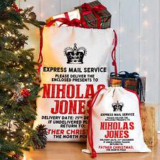 Express Mail Christmas Sack Santa  Xmas Present Stocking Personalised NS010