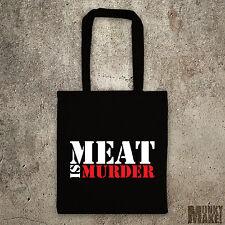 meat is murder shoulder tote bag different colours protest vegetarian vegan