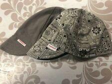NWT 2 Comeaux Caps Gray Bandana Solid Grey Welding Welders Hat Reversible cotton