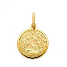 df0fc636f055 14 Quilates Amarillo Oro Blanco Religioso Bautismo Medalla Colgante Charm