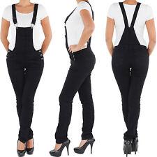 Damen Latzhose Jeans Hose Hüftjeans Röhrenjeans Latzjeans Skinny Stretch Overall