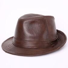 Women Men 100% Genuine Leather Cowhide Cap Beret Hat Wide Brim Formal Hats
