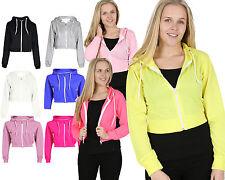 Womens PLAIN CROP HOODIE Zipper Sweatshirt Ladies Girls Dance Hoody Colour