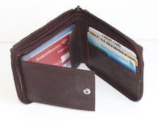 Genuine Leather Mens Bifold Zip Around Wallet Business Card InsertHolder
