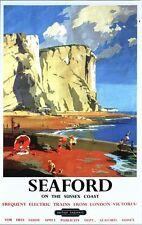 1950's British Railways Seaford Sussex Railway Poster A3 / A2 Print
