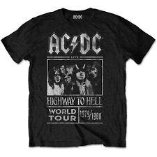 ACDC Autopista al Infierno World Tour 79-80 Rock Con Licencia Camiseta Camiseta Hombres