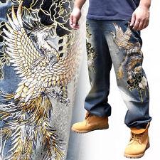 Magnifique Jean Homme Broderie Pantalon Denim Droite Totem Japon Phénix Neuf