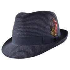 Sommer Strohhut Feder Hut retro Feather Straw Trilby Fedora Hat ungefüttert