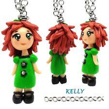 Collana collane con Bambola Bambolina Kawaii fatta a mano in fimo Verde idea