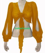 Golden Belly Dance Tie Top Flair Wrap Choli Gypsy Haut Oriental Harem Slit