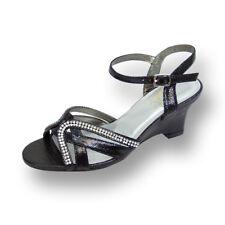 FIC FLORAL Leah Women Wide Width Open Toe Curvy Rhinestone Strips Wedge Sandal