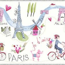 Girls Bedroom Kids Paris with Love White Multi Glitter FRIEZE Border - 696302