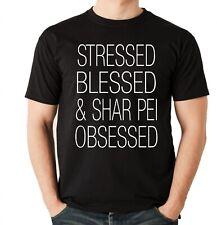 Shar Pei Unisex T-Shirt Hundemotiv Hundemotiv Stressed Blessed Faltenhund Chines