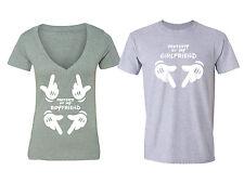 Property of my Boyfriend Matching Couples T shirts Vneck + Crewneck T-shirts GRY