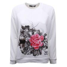 C0099 felpa donna SWEET MATILDA bianco/nero/fuxia maglia sweatshirt woman