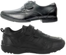 1f0abeed5cf8 Boys Black Leather School Shoes Hook   Loop Dress Formal Easy On UK Sizes  ...