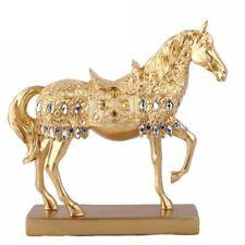 Golden Trotting Horse Statue Animal Sculpture Figurine Mini Home Office Decor