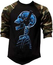 Men's Headphones Skeleton Camo Baseball Raglan T Shirt Day Of The Dead Rave EDM