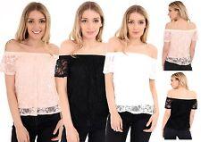 Women's Ladies Off-shoulder lace Casual Blouses Crop Tops T-Shirt
