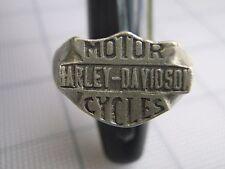 Vintage 80s HARLEY DAVIDSON MOTORCYCLES SHIELD PEWTER Biker RING RARE Trucker
