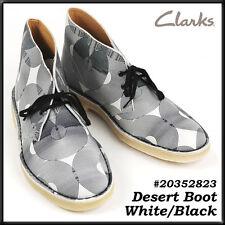 Clarks Originals  ** X DESERT BOOTS ** Black&White Leather ** UK 7.5,8,9,10,11F