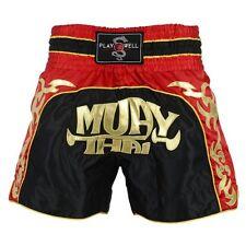 Nouveau playwell competition muay thai combat shorts noir/rouge trunks ufc mma pantalon
