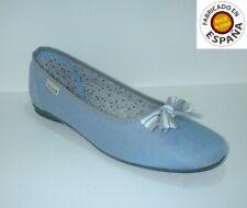 Manoletina textil color Azul y beig tallas 36,39 y 40