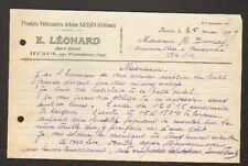 """RUAUX (88) PRODUITS VETERINAIRES Adrien SASSIN d'Orléans """"E. LEONARD"""" en 1929"""