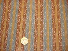 Vintage Cotton Fabric TINY RECTANGLE DIAMONDS ON BLUE/GOLD/BROWN STRIPE 1 Yd