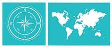 A4 A5 Schablone WELTKARTE Windrose Welt Kompass BB-Flex-Stencils selbstklebend