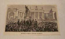 1880 magazine engraving ~ HENRY GRATTAN STATUE, Dublin, Ireland