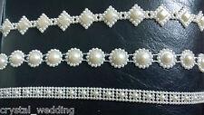 Pearl multifunzione banding TORTA Trim in Avorio o Bianco 10 disegni da scegliere 1 Yard