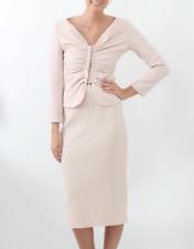 $3790 New Oscar de la Renta Virgin Wool Crepe SUIT JACKET SKIRT Bisque Pink 2 4