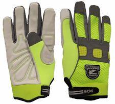 Gatorback 635 High-Viz Goat Skin Leather Work Gloves. Safety Professional Gloves