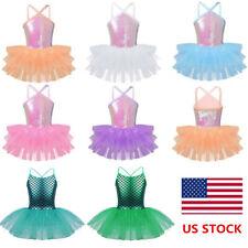 US Kids Girls Sequins Ballet Dance Dress Gym Ballerina Leotard Dancewear Costume