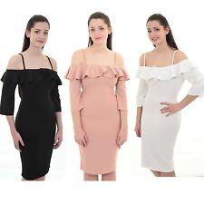 Womens Off Shoulder Bardot 3/4 Sleeve Frill Ruffle Knee Length Bodycon Dress
