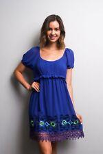 Arden B. Juniors Short Sleeve Empire Dress Embroidery Lace Trim XS  S M   Blue