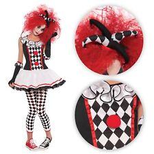 Teens Girls Harley Quinn Harlequin Clown Jester Monster Fancy Dress Costume BN