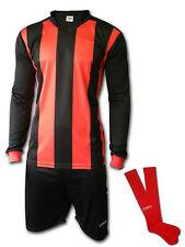 Ichnos teamwear football team kit shirt shorts socks black red stripes