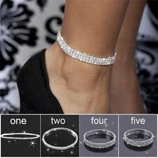 Mehrschichtige reihe kristall strass stretch strand fußkettchen kette armband 0U