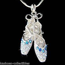 w Swarovski Crystal ~Blue BALLERINA Slippers Ballet Dance Shoes Pendant Necklace