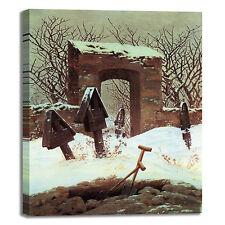 Caspar cimitero sotto neve design quadro stampa tela dipinto telaio arredo casa