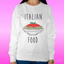 "FELPA DONNA LEGGERA SWEATER BIANCO "" ITALIAN FOOD SPAGHETTI"" ROAD TO HAPPINESS"