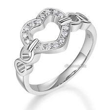 Anniversary Promise Ring 0.1 Ct Diamond 14K White Gold Heart Women Wedding Band