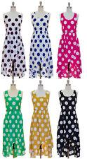Boho High Low Polka Dot Wrap Long Sun Dress S M L  New