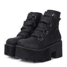 Spring Autumn Ankle Boots Women Platform Rubber Sole Buckle Black Leather Shoes