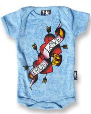 BABY ROMPER ROCKABILLY TRUE LOVE HEARTS TATTOO LOCKER BLUE SIX BUNNIES BOYS