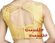 Readymade Saree Blouse,Golden Sleeveless Blouse,Designer sari Blouse,Indian Top