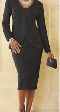 Ashro Black Lace Formal Julieta 3 Pc Jacket Pant Skirt Wardrober  Size 6 8 12 14