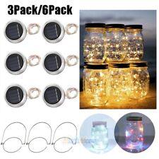 3/6Pack 20Led Solar Mason Jar Lid Lights Outdoor String Fairy Hanging Lanterns